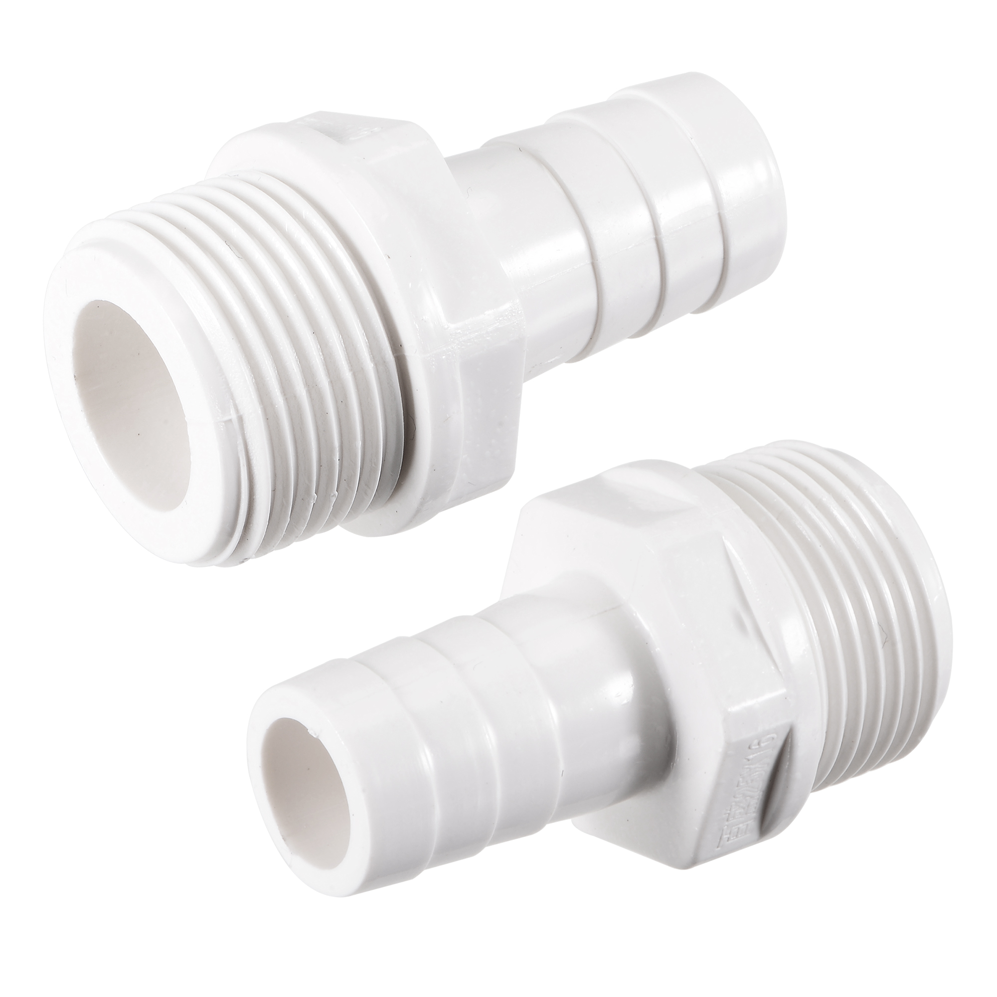 PVC Tube Fitting Adapter 16mm Barbed x G3/4 Male White for Aquariums 2Pcs