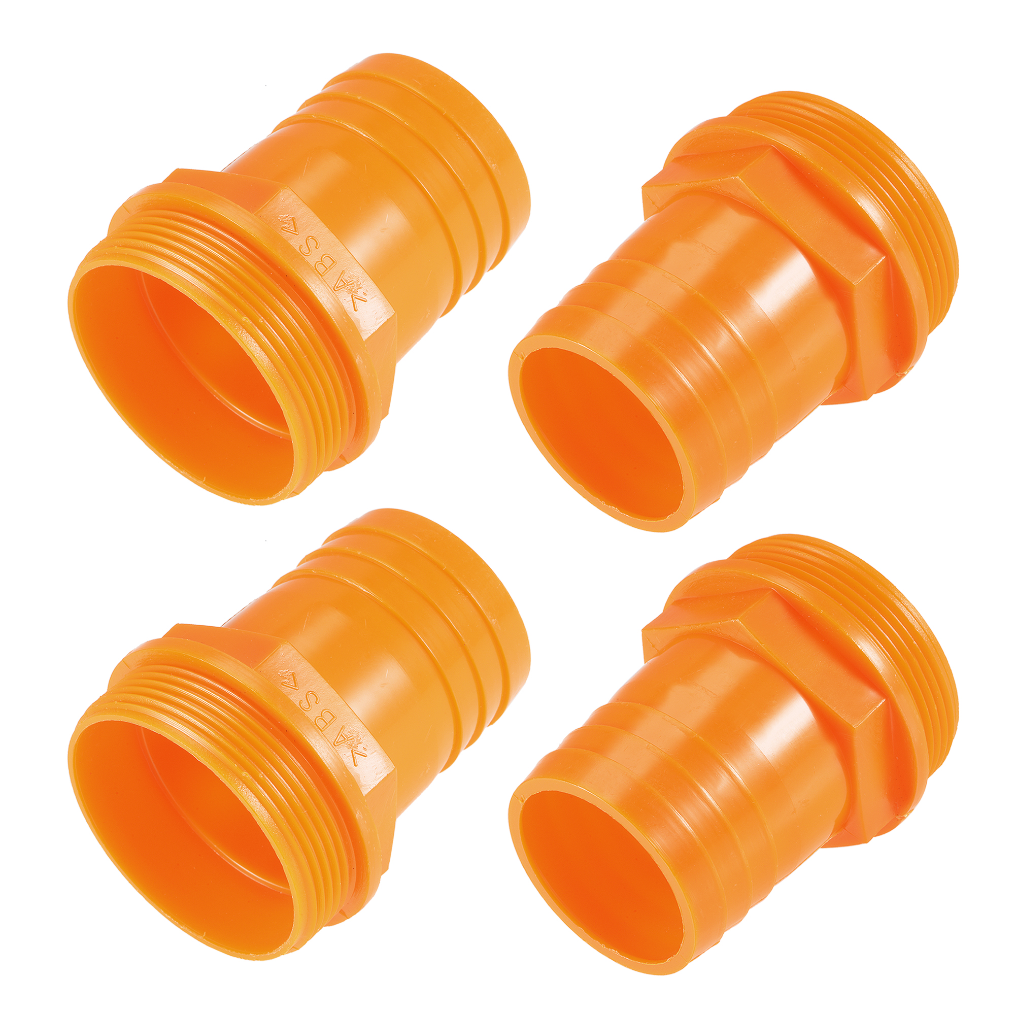 PVC Tube Fitting Adapter 46mm Barbed x G2 Male Orange for Aquariums 4Pcs