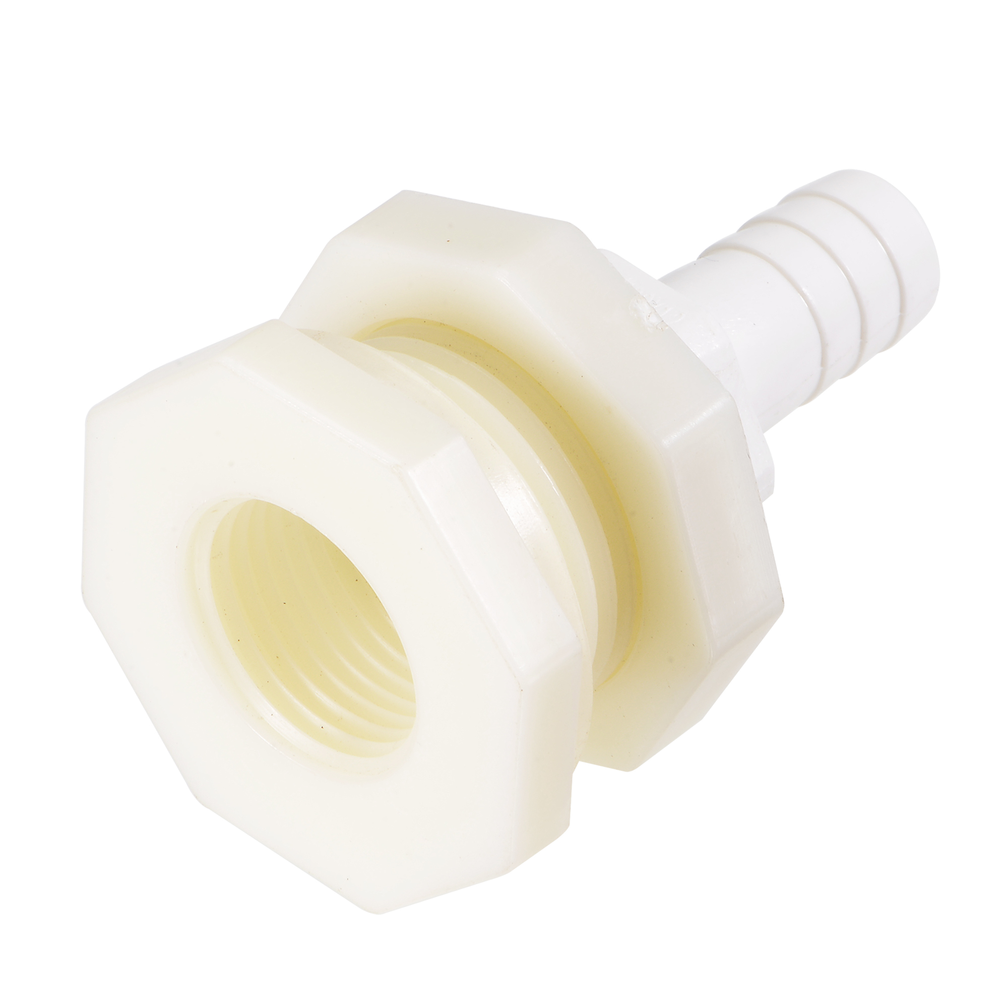 Bulkhead Fitting Adapter 12mm Barbed x G1/2 Female ABS White for Aquariums