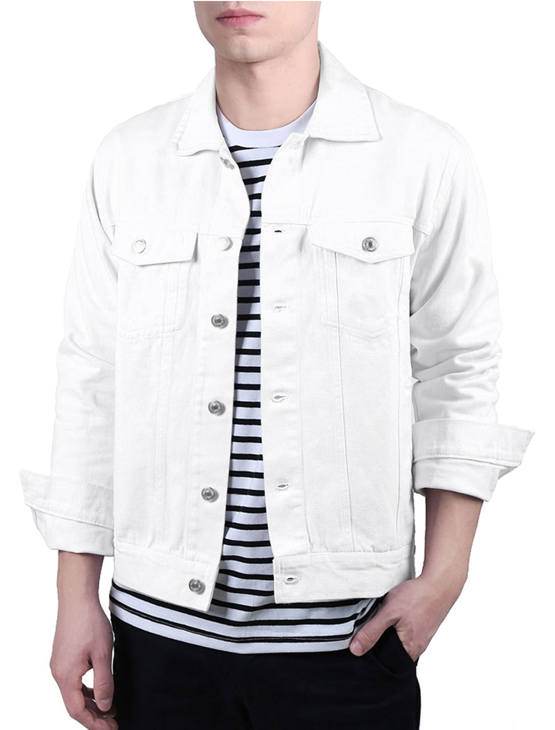 Men's Jean Button Down Cotton Trucker Denim Jackets with Pockets White 42