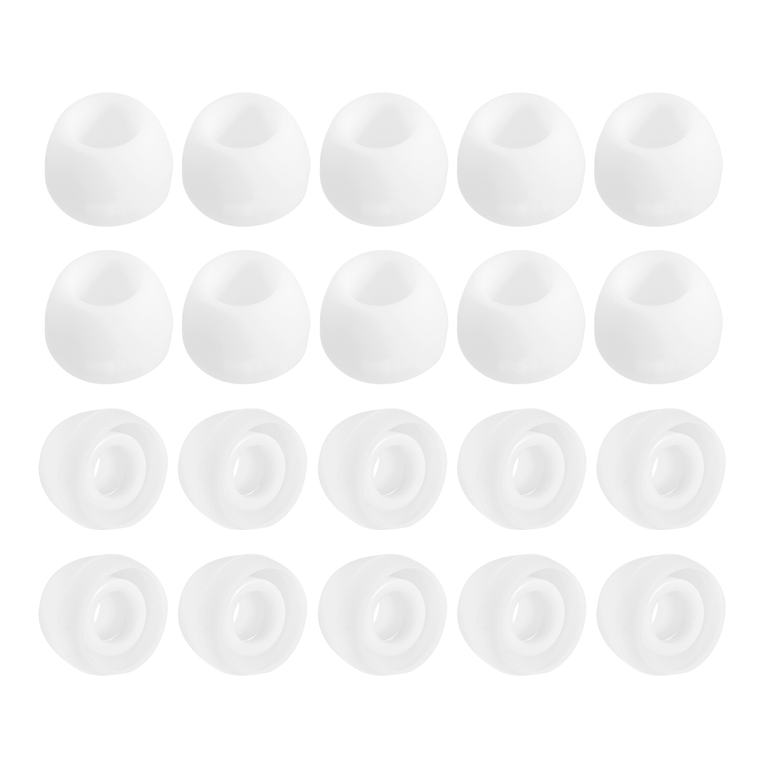 4.5mm IDx10mm OD Silicone Earbud Tips for Volume OD 4.5-6mm, White 10 Pair