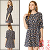 Allegra K Women's 3/4 Sleeve Floral A-Line Flare Dress Blue X-Small