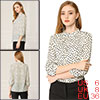 Allegra K Women's 3/4 Sleeve Pleated Polka Dot Blouse Top Beige Small