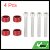 4pcs 6mm Racing Car Dress Up Aluminum Alloy Cup Washer Bolts Kit Red Universal