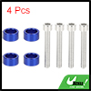 4pcs 6mm Racing Car Dress Up Aluminum Alloy Cup Washers Bolts Kit Blue Universal