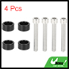 4pcs 6mm Racing Car Dress Up Aluminum Alloy Cup Washer Bolts Kit Black Universal