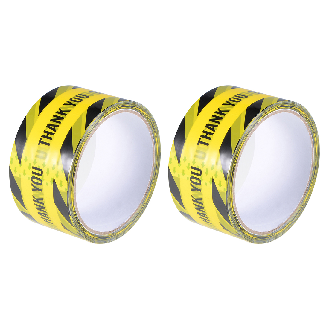 Caution Warning Stripe Tape THANK YOU Marking, 82 Ft x 2 Inch Yellow Black 2Pcs