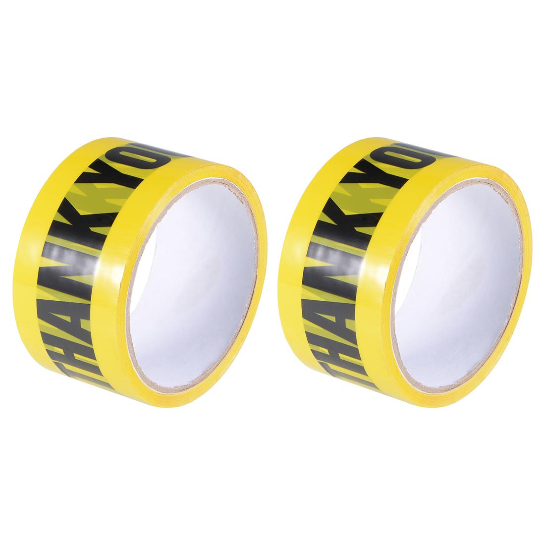 Warning Adhesive Tape Bold THANK YOU Marking, 82 Ft x 2 Inch, Yellow Black 2Pcs