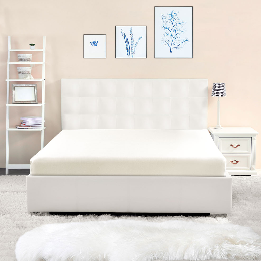Washed Cotton Fitted Sheet with Large Elastic Pocket Bed Sheets Cream Queen