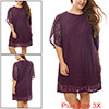 Women Plus Size Tulip Sleeves Floral Lace Shift Dress Red 3X