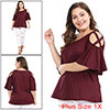 Women Plus Size Strappy Cold Shoulder Trumpet Sleeves Top Burgundy 1X