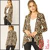 Allegra K Women Long Sleeves Open Front Leopard Cardigan Beige Brown XS