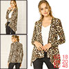 Allegra K Women Long Sleeves Open Front Leopard Cardigan Beige Brown XL