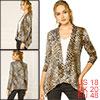 Allegra K Women Long Sleeves Open Front Leopard Cardigan Beige Black XL