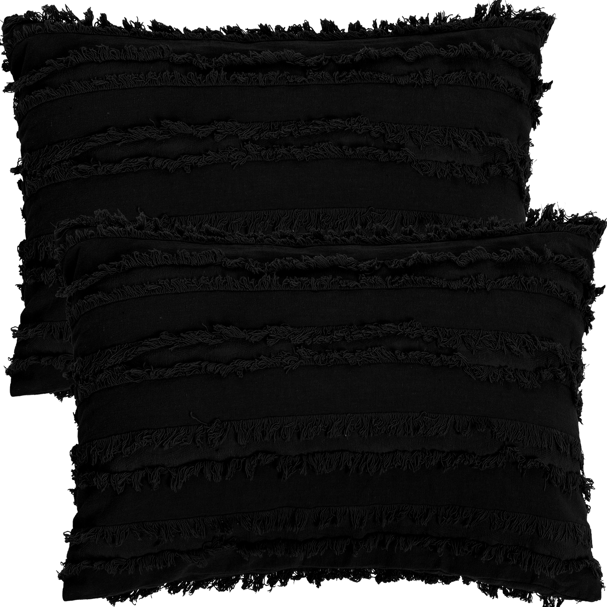 "2Pcs Boho Cotton Linen Striped Jacquard Throw Cushion Covers 12""x20"" Black"