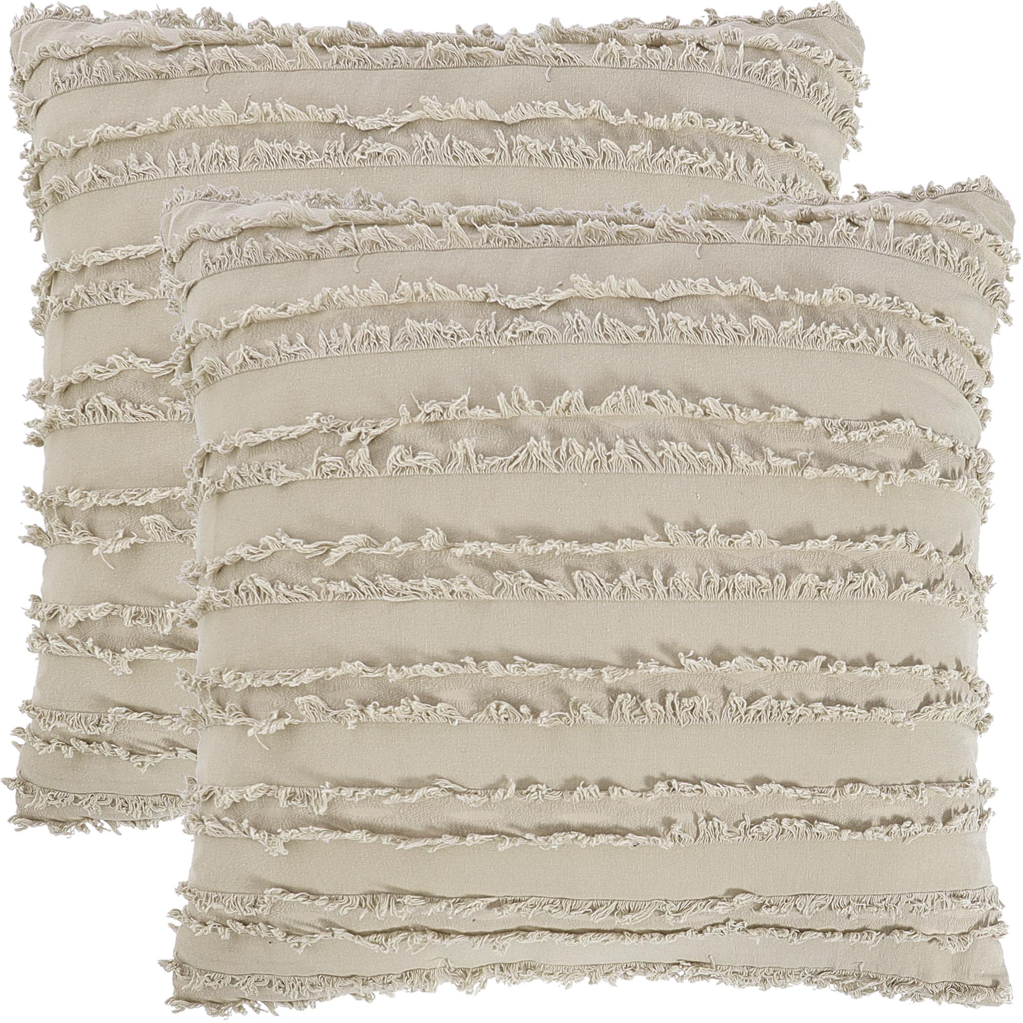 "2Pcs Boho Cotton Linen Striped Jacquard Throw Cushion Covers 20""x20"" Beige"