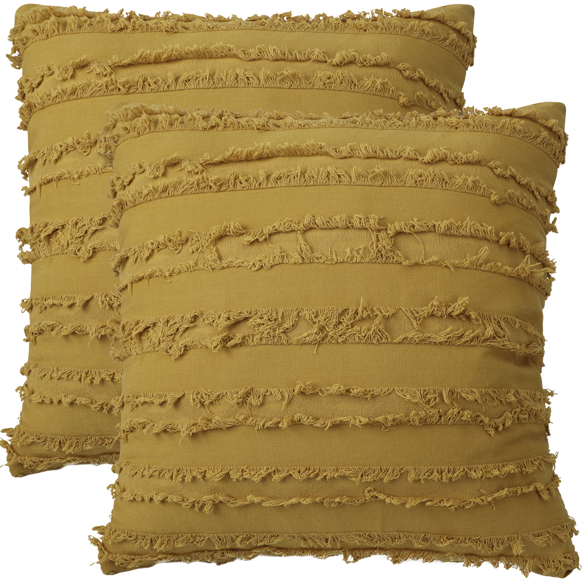 "2Pcs Boho Cotton Linen Striped Jacquard Throw Cushion Covers 20""x20"" Yellow"