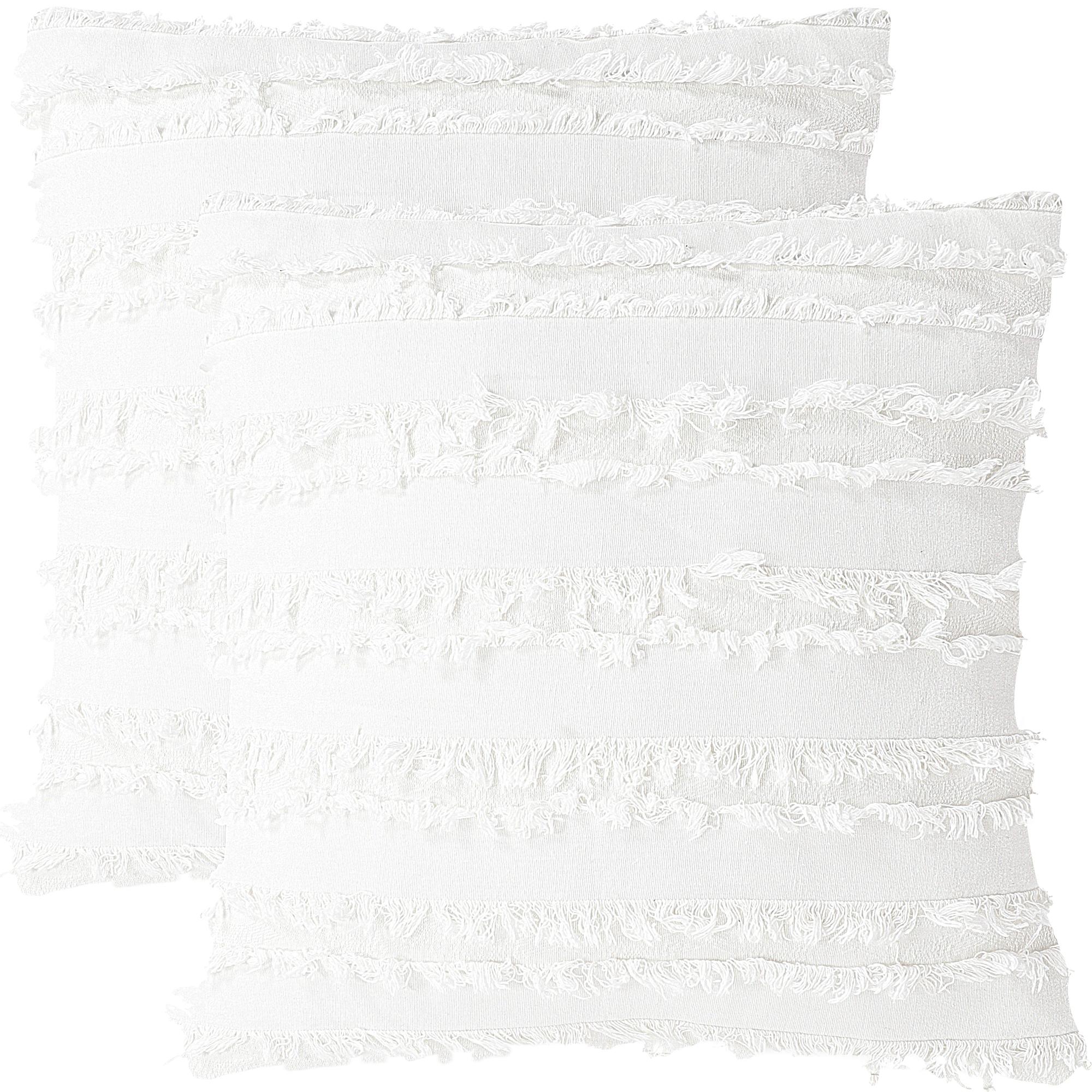 "2Pcs Boho Cotton Linen Striped Jacquard Throw Cushion Covers 20""x20"" White"