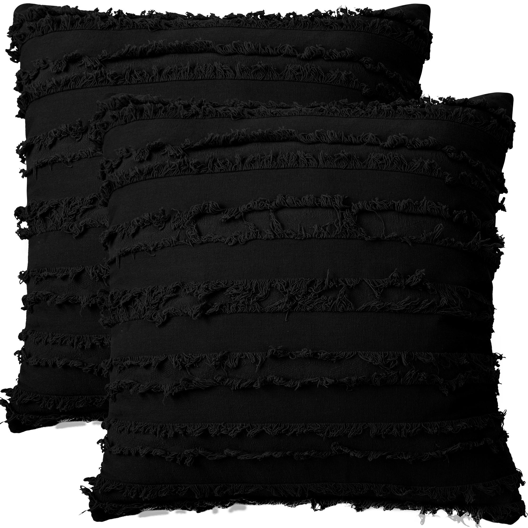 "2Pcs Boho Cotton Linen Striped Jacquard Throw Cushion Covers 20""x20"" Black"