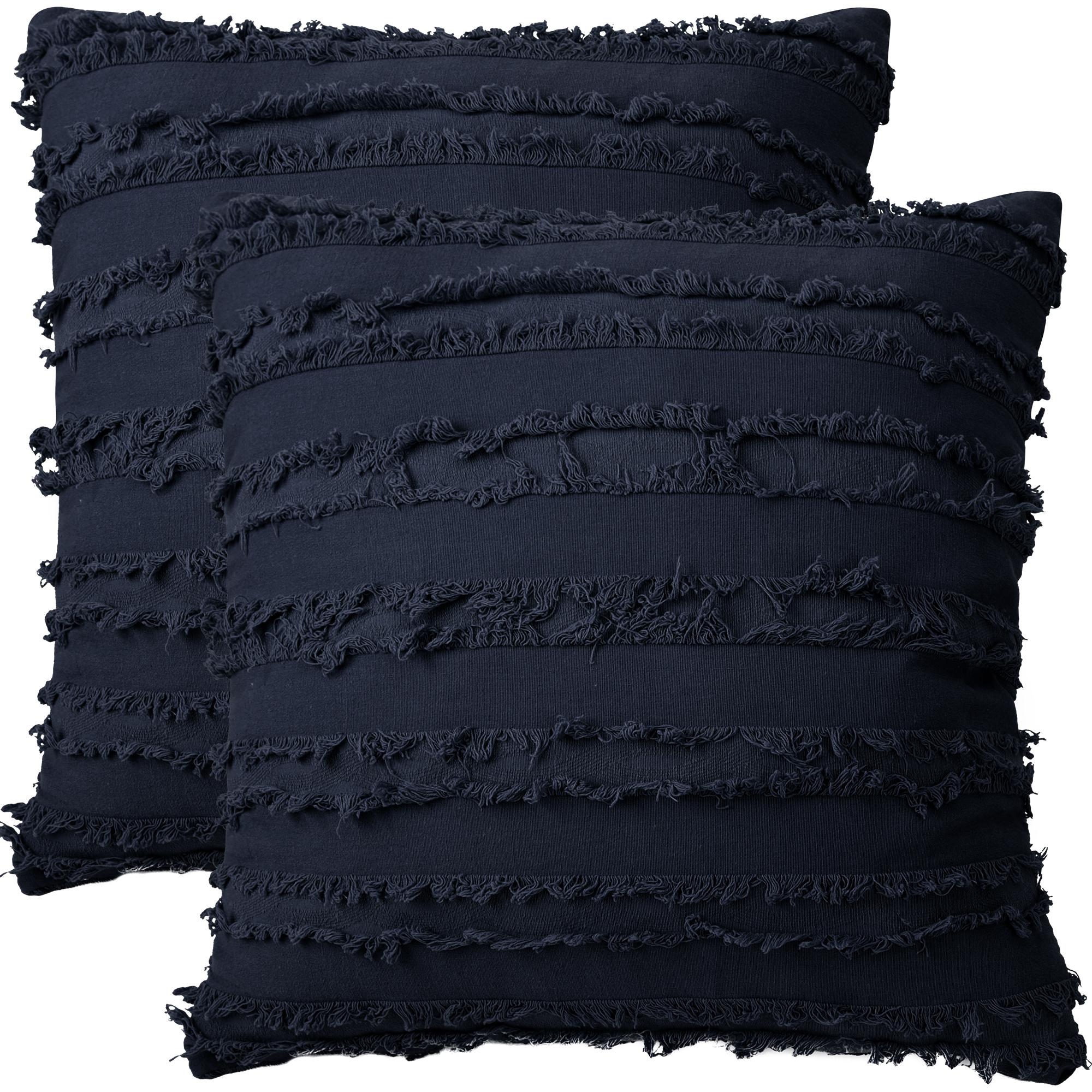"2Pcs Boho Cotton Linen Striped Jacquard Throw Cushion Covers 20""x20"" Navy Blue"
