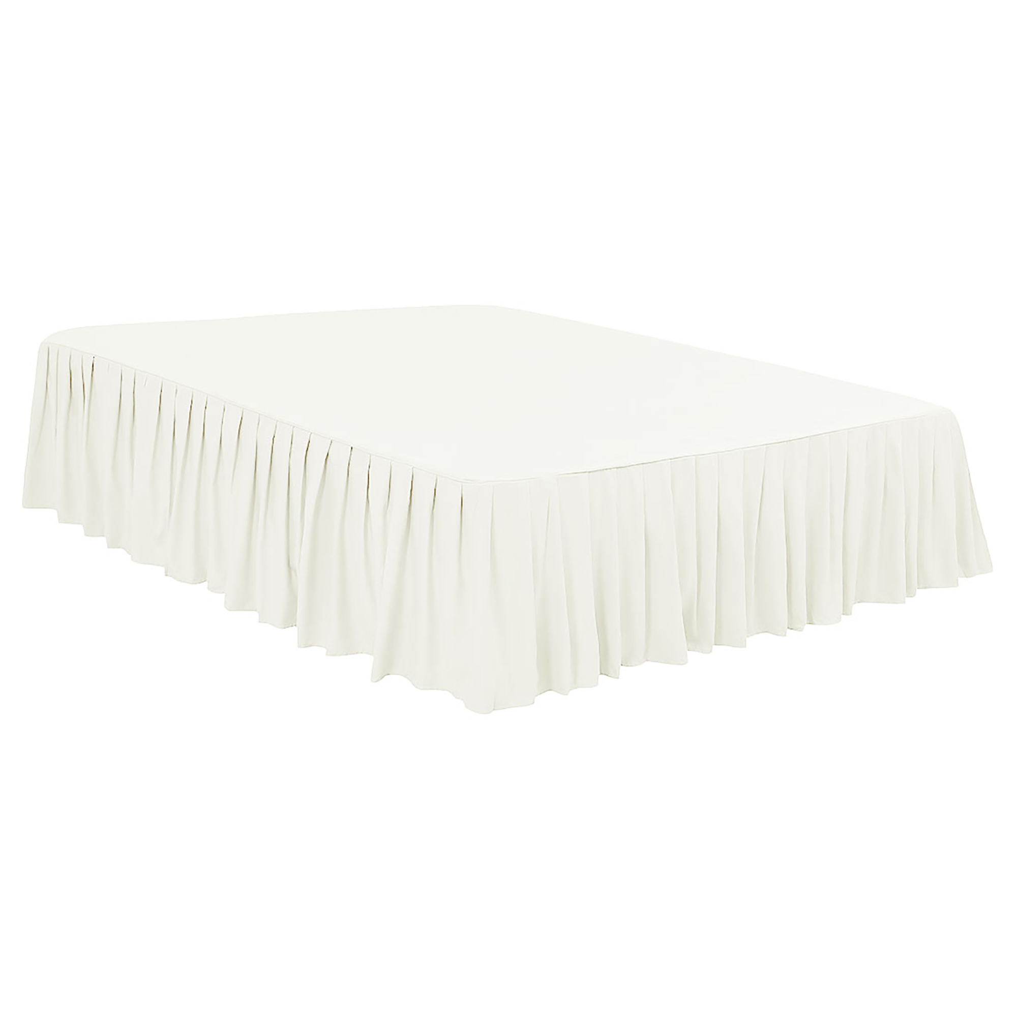 "Ruffled Bed Skirts Polyester Brushed Soft Platform 16"" Drop Full Pearl White"