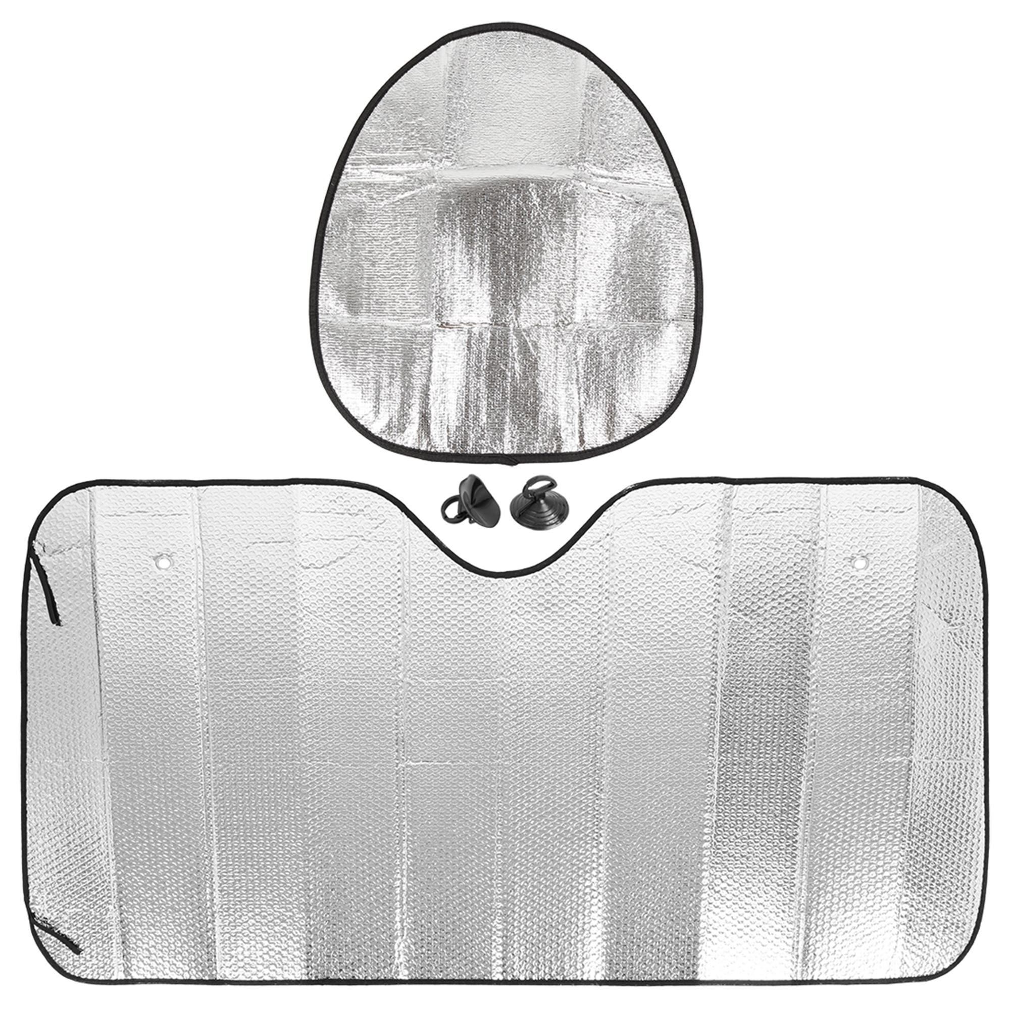 "54.33""x27.56"" Car Foldable Sunshade Block Steering Wheel Sun Protection Set"