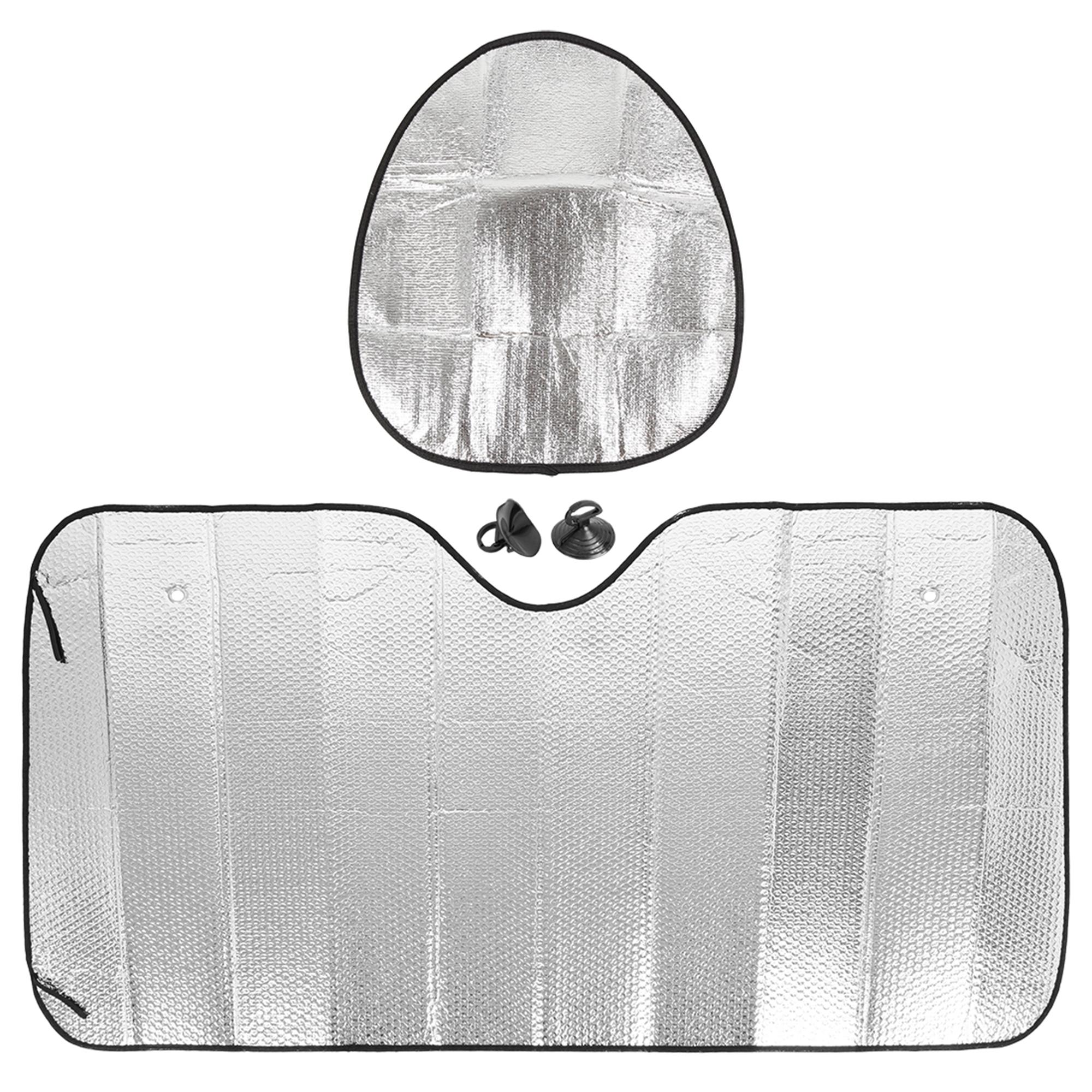 "57.87""x31.50"" Car Foldable Sunshade Block Steering Wheel Sun Protection Set"