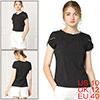 Allegra K Women's Tulip Sleeve Contrast Trim Knit T-Shirt Black Medium