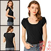 Women's Scoop Neck Short Tulip Sleeves Ribbed Blouse Top Black Small