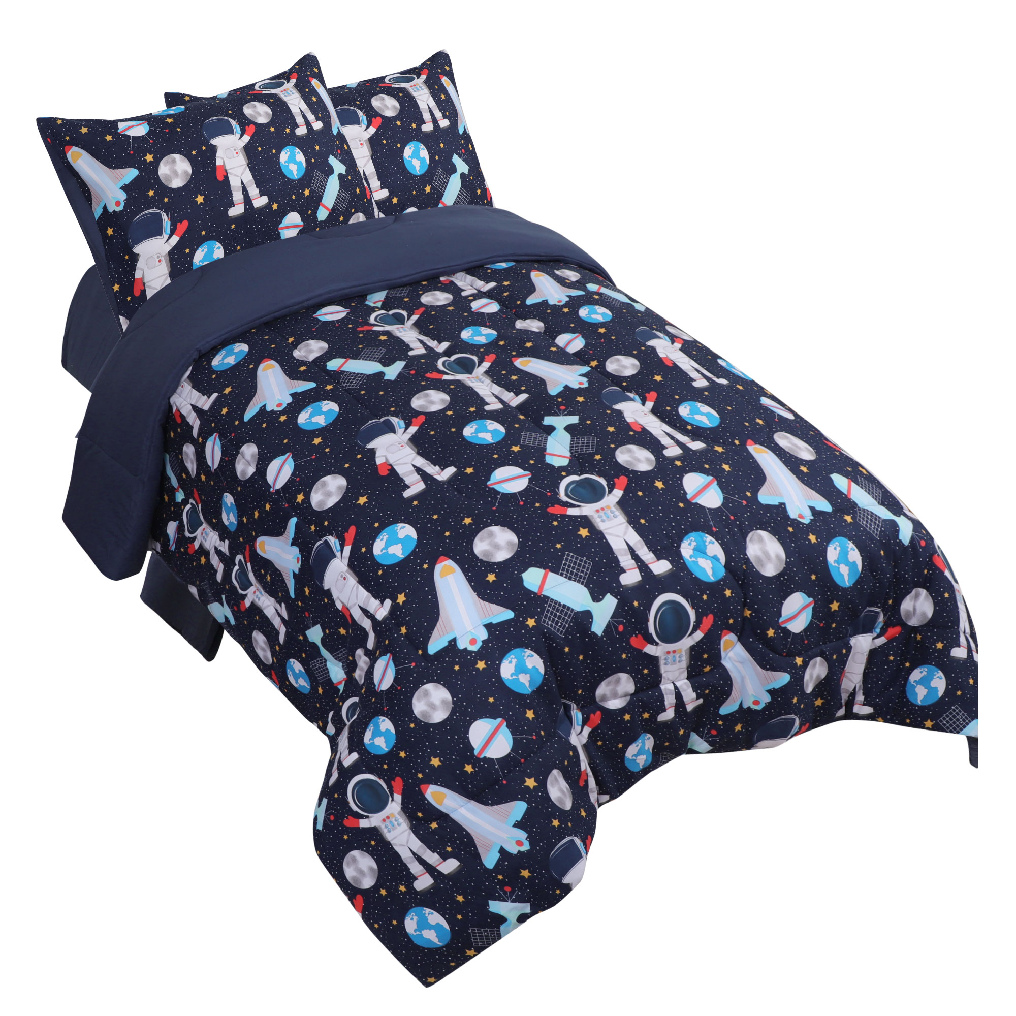 5 Piece Polyester Microfiber Kids Bed Comforter Set Full Space Astronaut