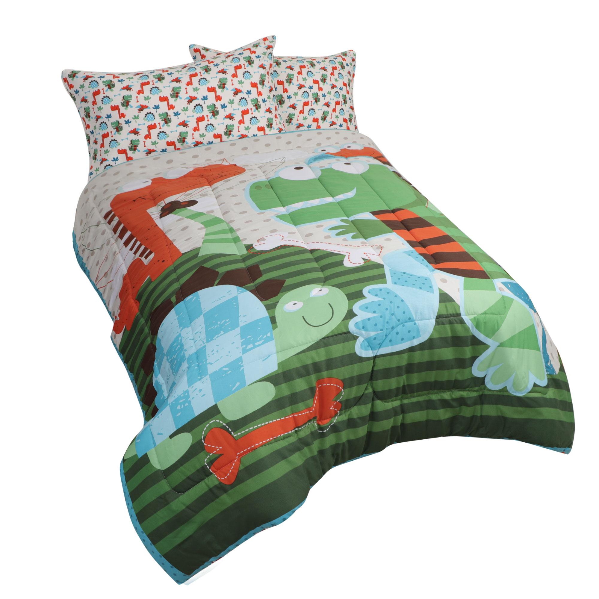 3 Piece Polyester Microfiber Kids Bedding Comforter Set Dinosaur Twin