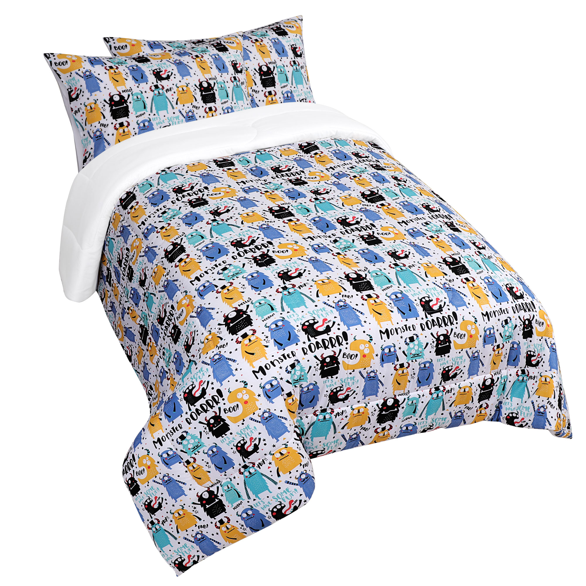 3 Piece Polyester Microfiber Kids Bedding Comforter Set Monster Twin