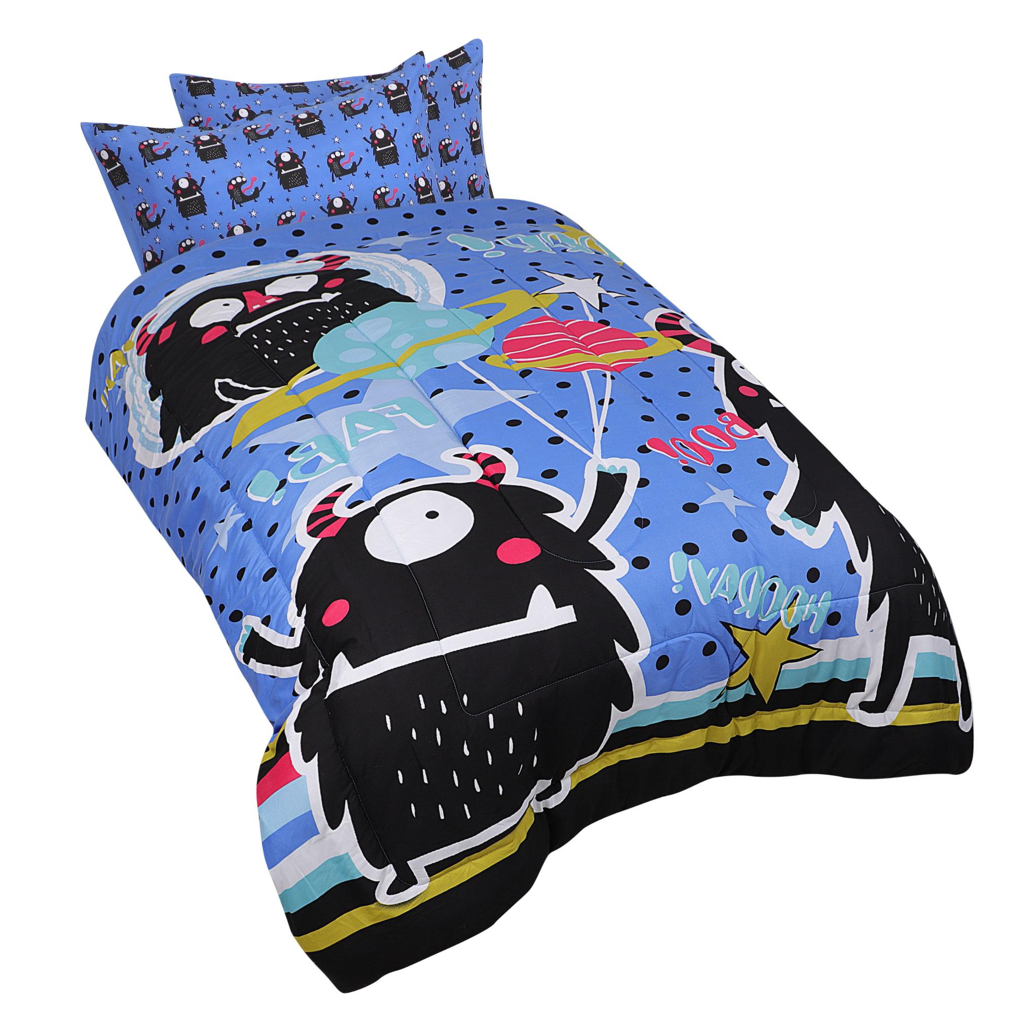 3 Piece Polyester Microfiber Kids Bedding Comforter Set Black Monster Twin