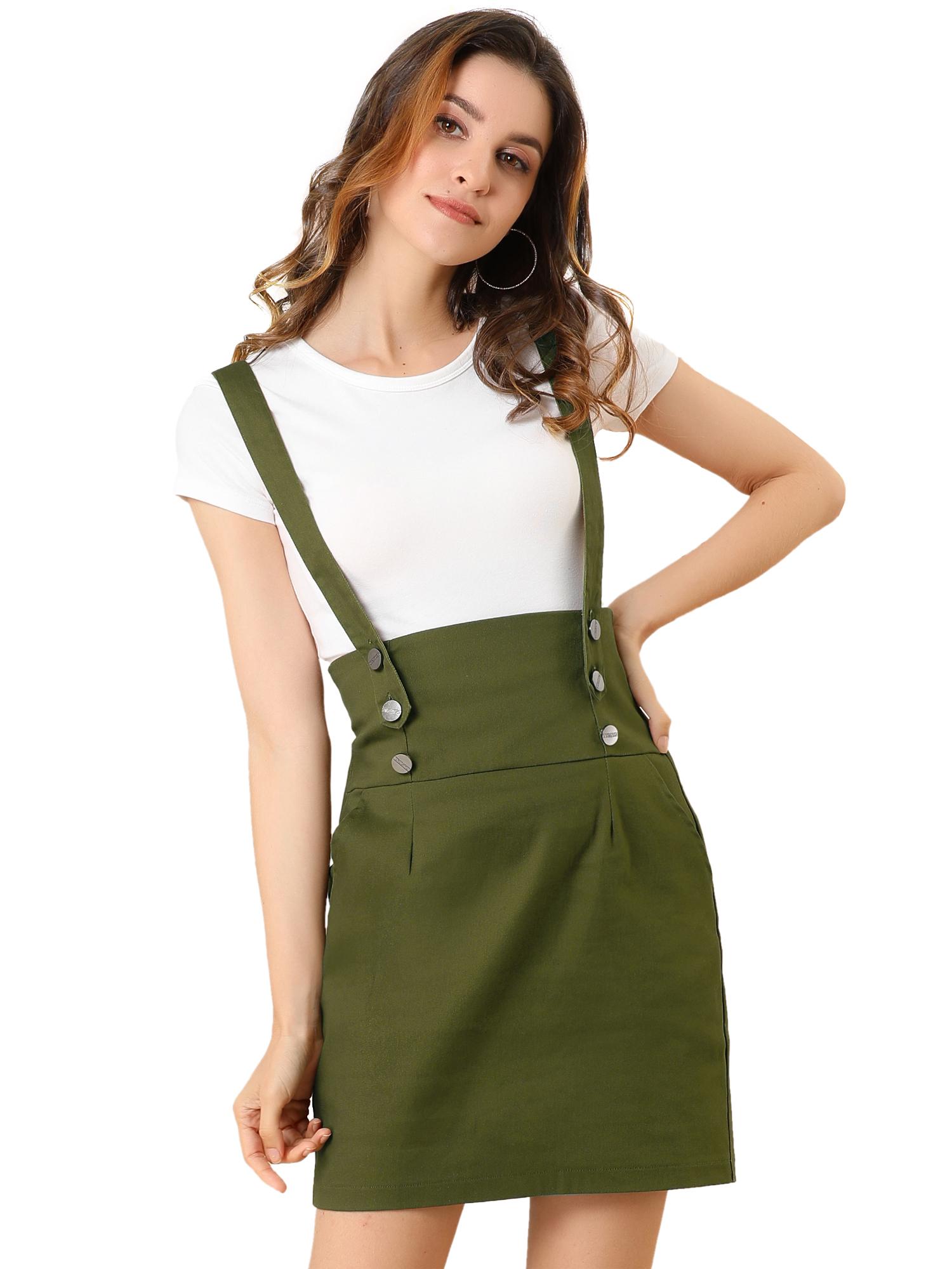 Allegra K Women Button High Waist Straight Braces Suspender Skirt Olive Green M