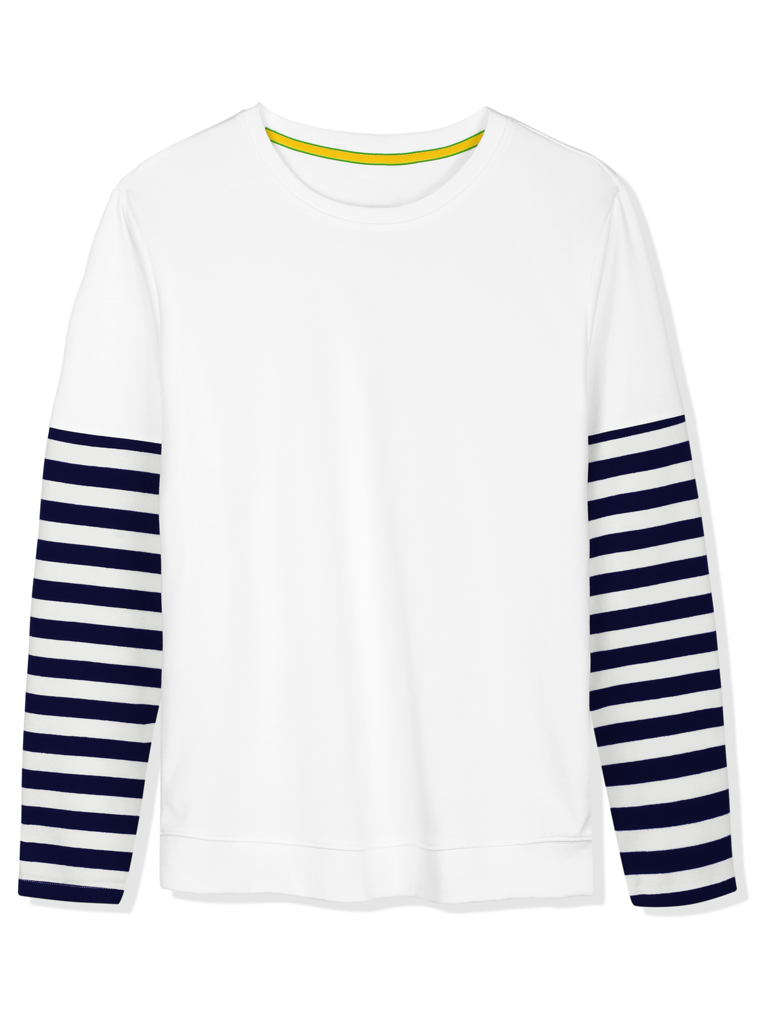 Men's Stripes Panel Sleeve Crewneck Striped Pullover White M