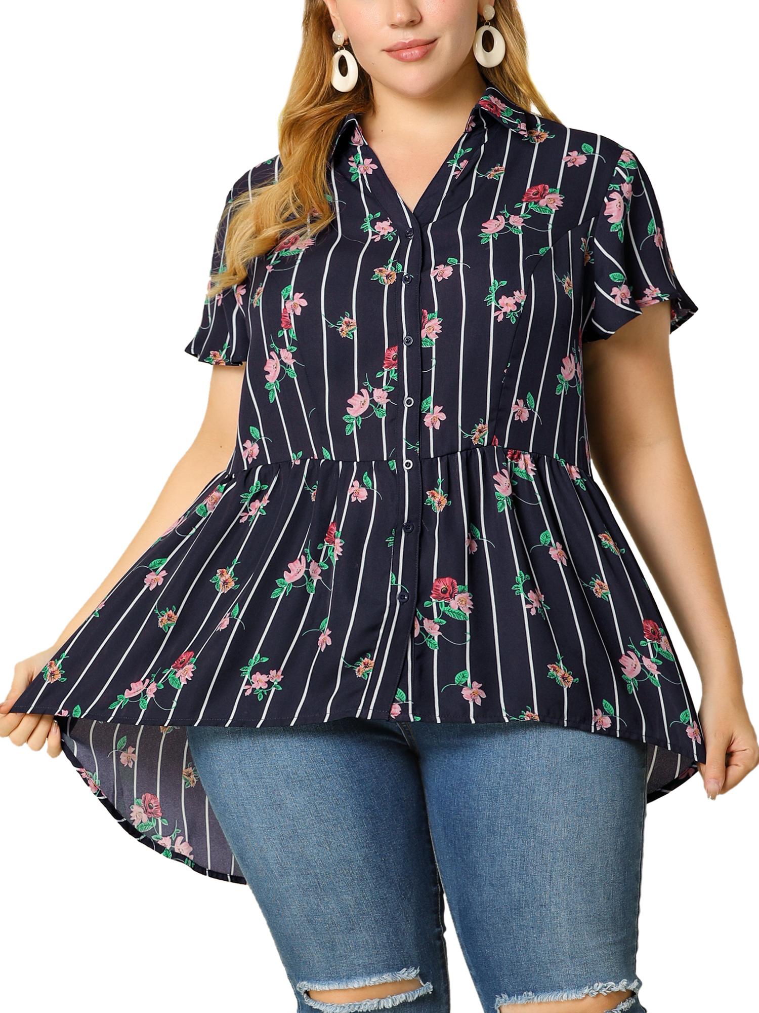 Women's Plus Size Shirt Floral Irregular Hem Chiffon Peplum Blouse Dark Blue 1X