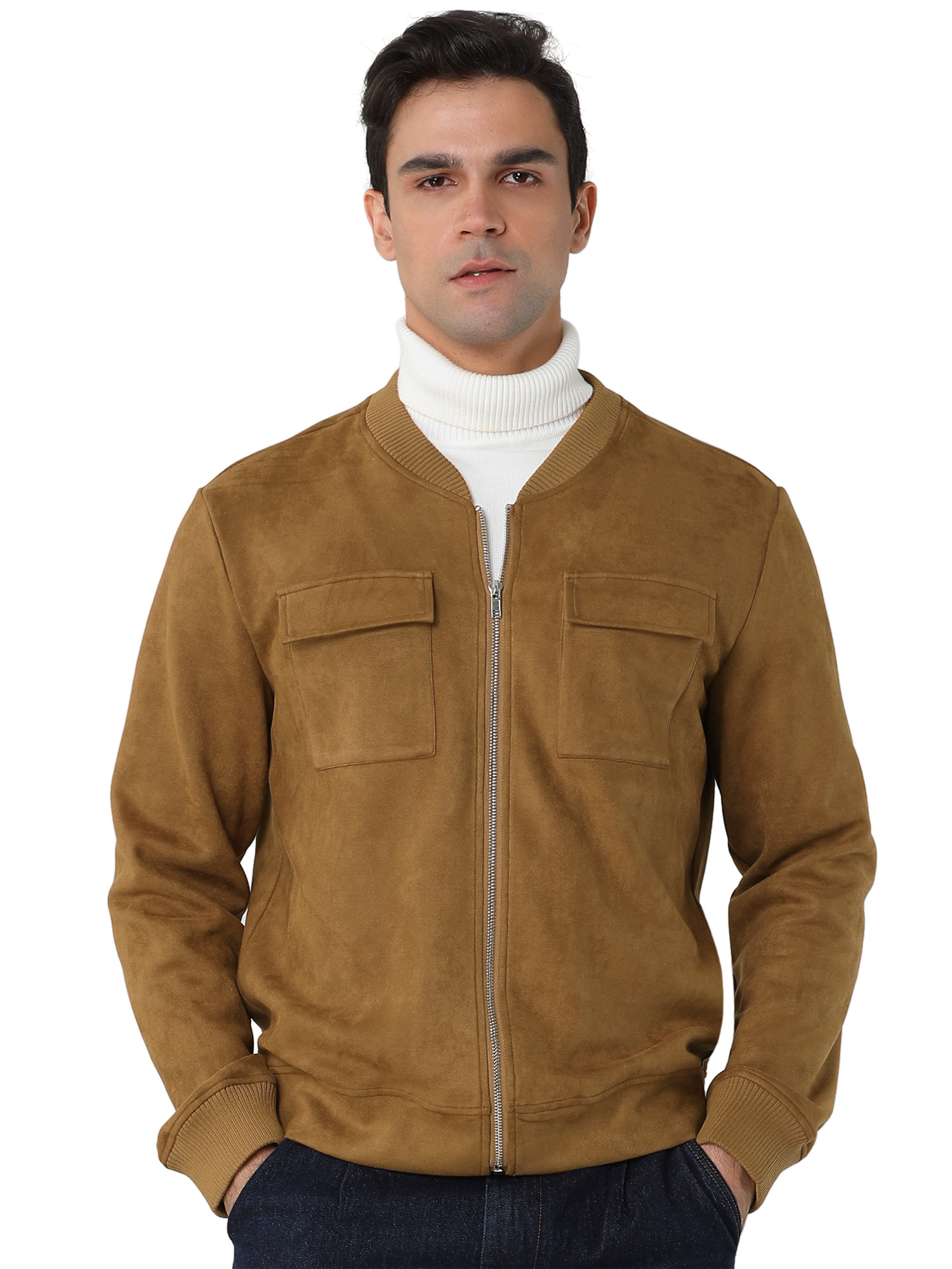 Men's Suede Jacket Zip Up Pockets Faux Baseball Bomber Jackets Brown L