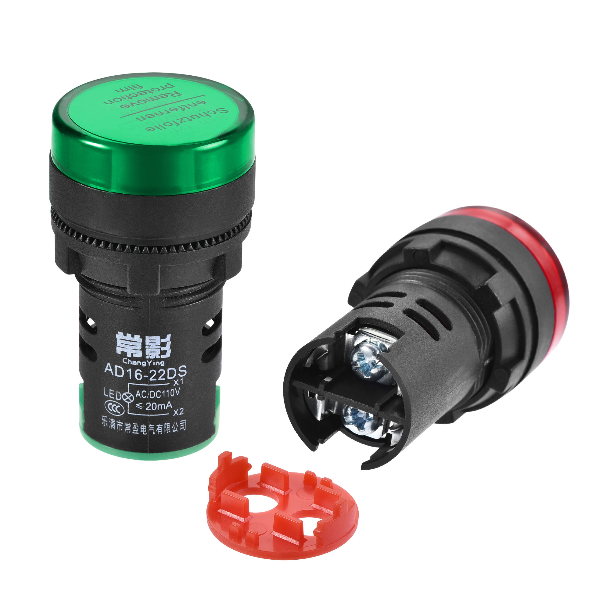 AC/DC 110V Indicator Lights, Dust Cover IP54, Red Green - 2 Colors, 10Pcs