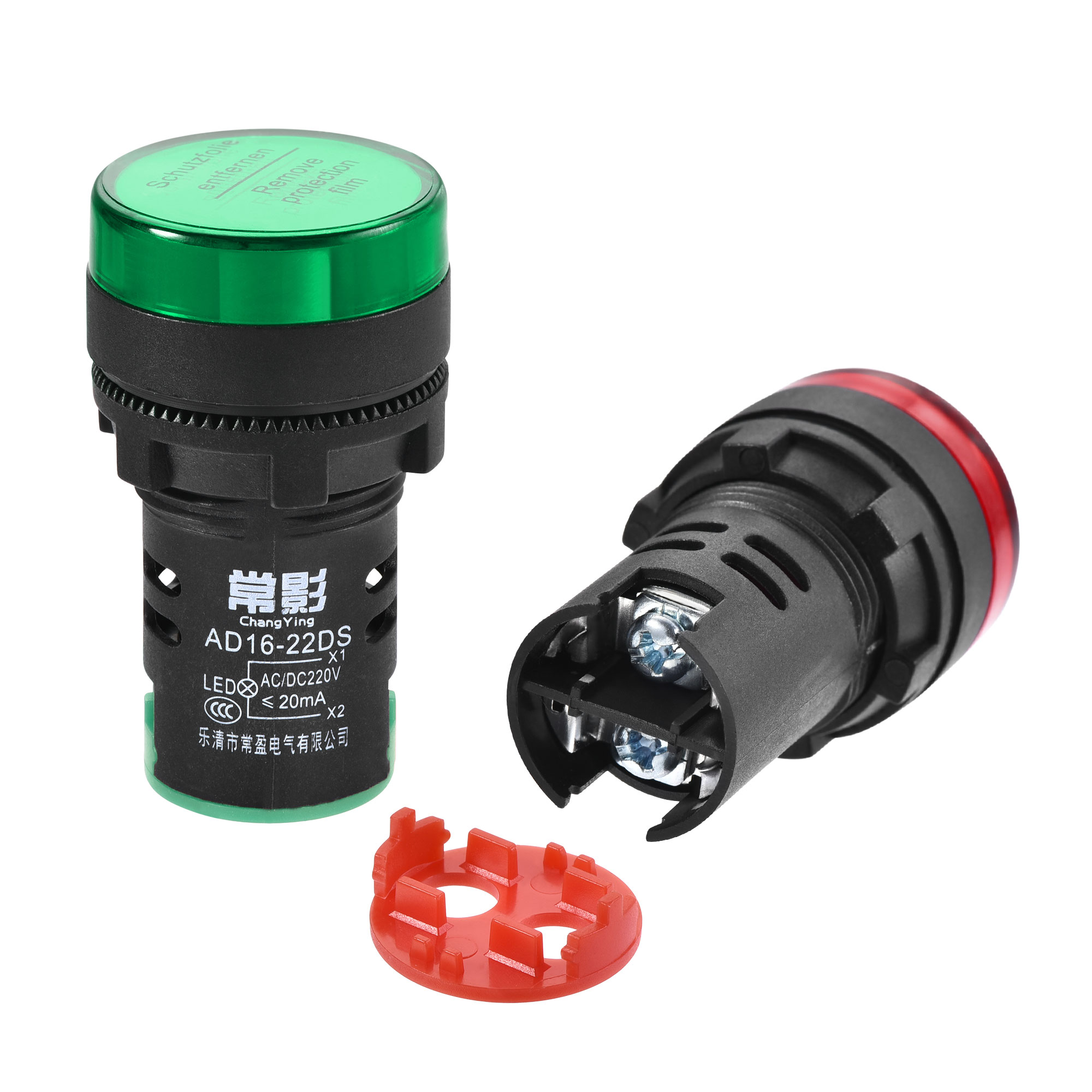 AC/DC 220V Indicator Lights, Dust Cover IP54, Red Green - 2 Colors, 8Pcs