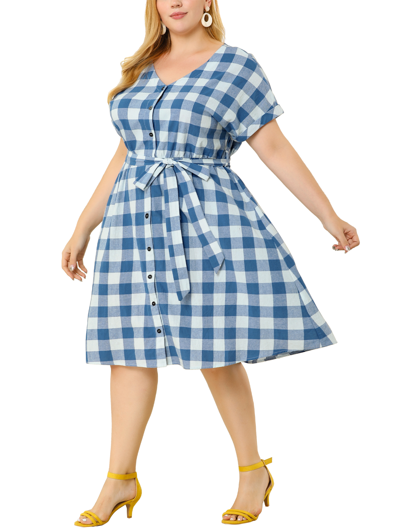Women's Plus Size Dress Cotton Short Sleeve Buttons Front Plaid Dresses Blue 1X