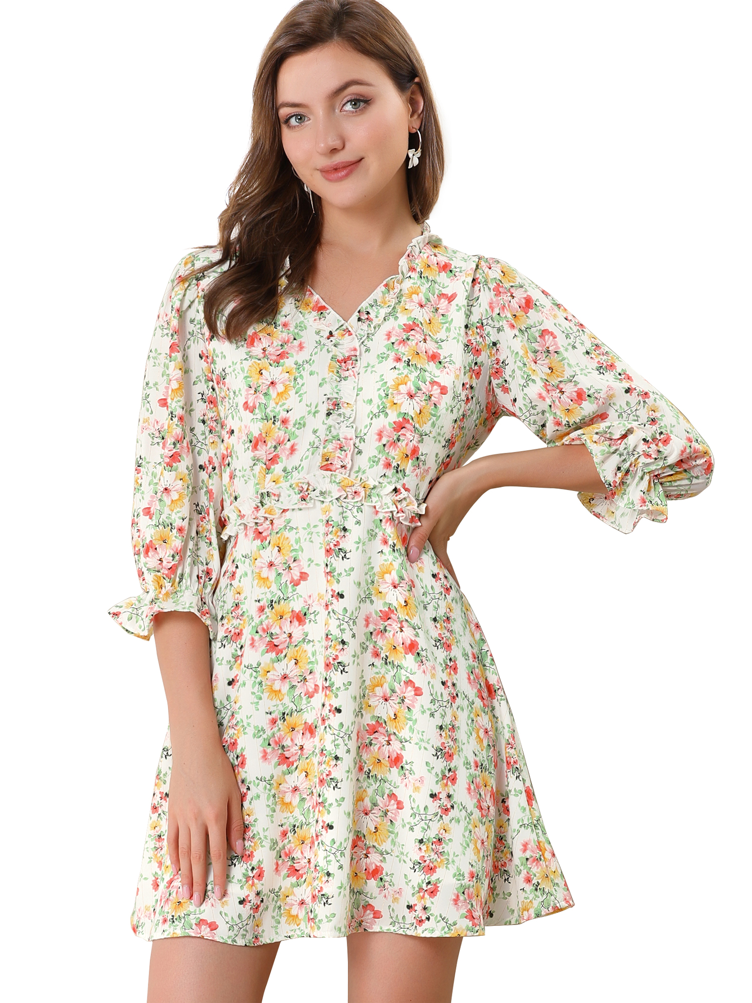 Women's Ruffle Floral 3/4 Sleeve A-line V Neck Flare Dress White L
