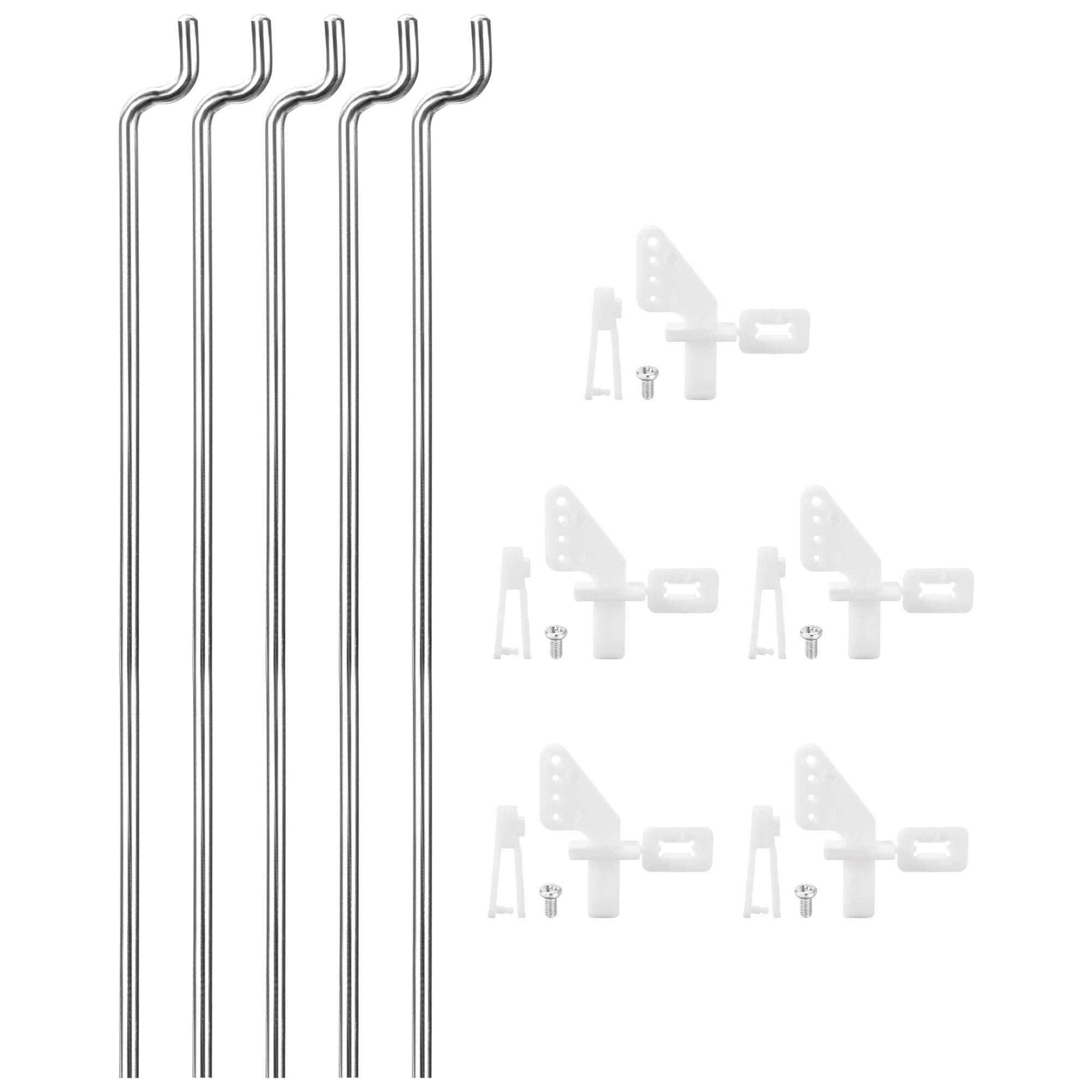 5PCS 1.2mmx260cm Pushrod Parts + 5PCS Nylon Micro Control Horns 4 Holes