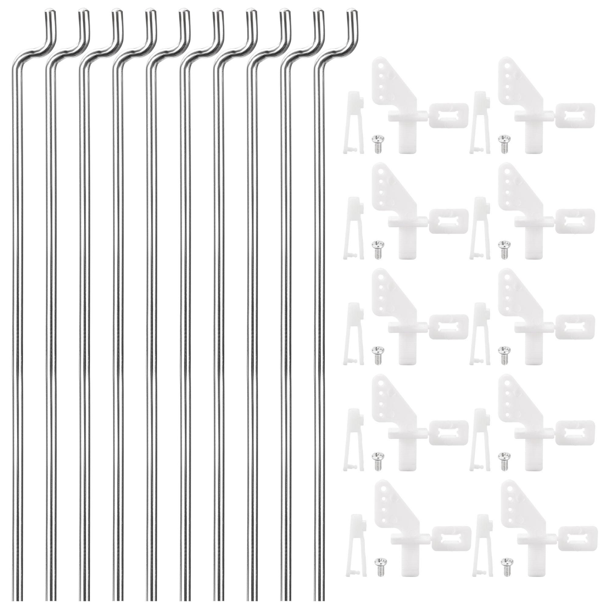 10PCS 1.2mmx260cm Pushrod Parts + 10PCS Nylon Micro Control Horns 4 Holes