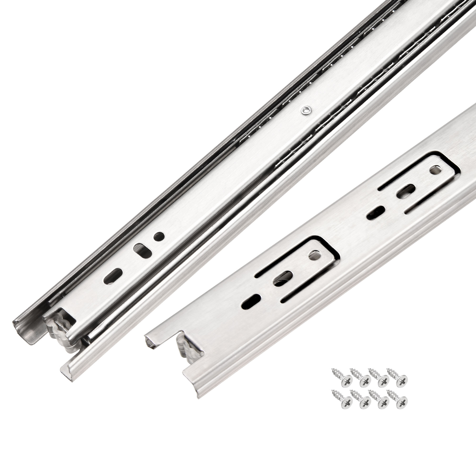 19.7Inch Drawer Slides Ball Bearing Slide Track Rail 35mm Wide 3 Sections 1 Pair