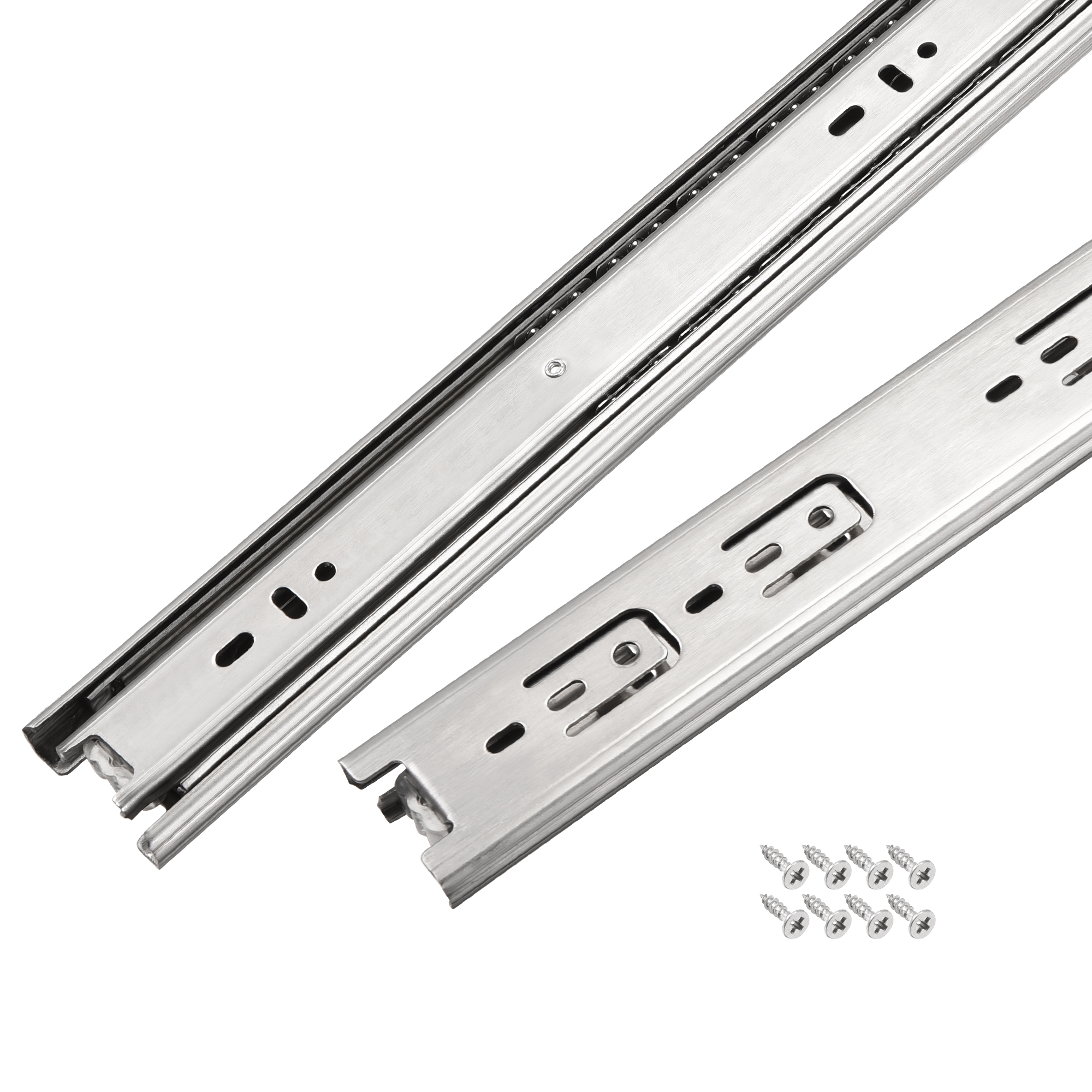 17.7Inch Drawer Slides Ball Bearing Track Rail 45mm Wide 3 Sections 1 Pair