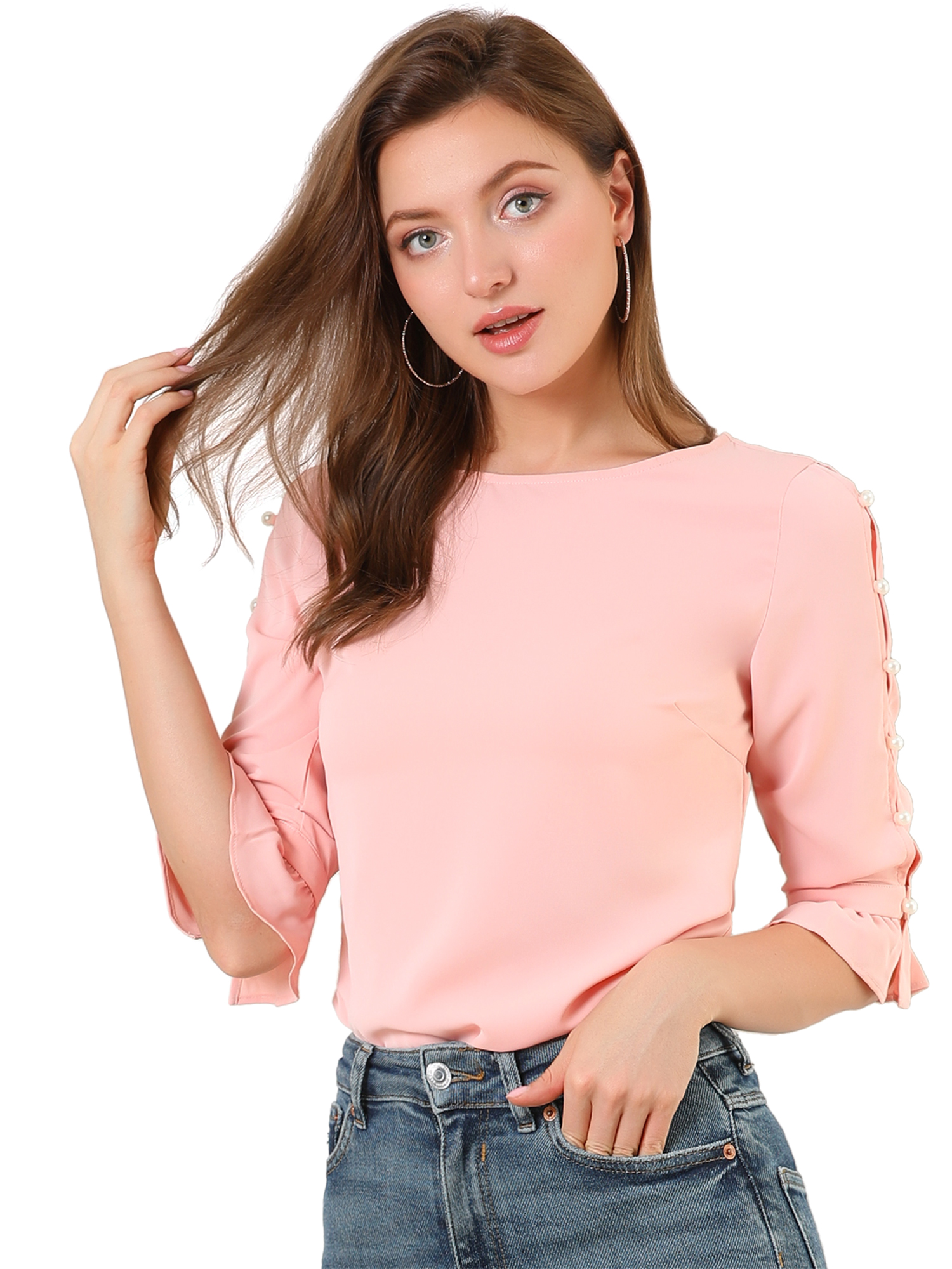 Allegra K Women's Ruffle Half Sleeve Keyhole Casual Solid Blouse Top Pink M