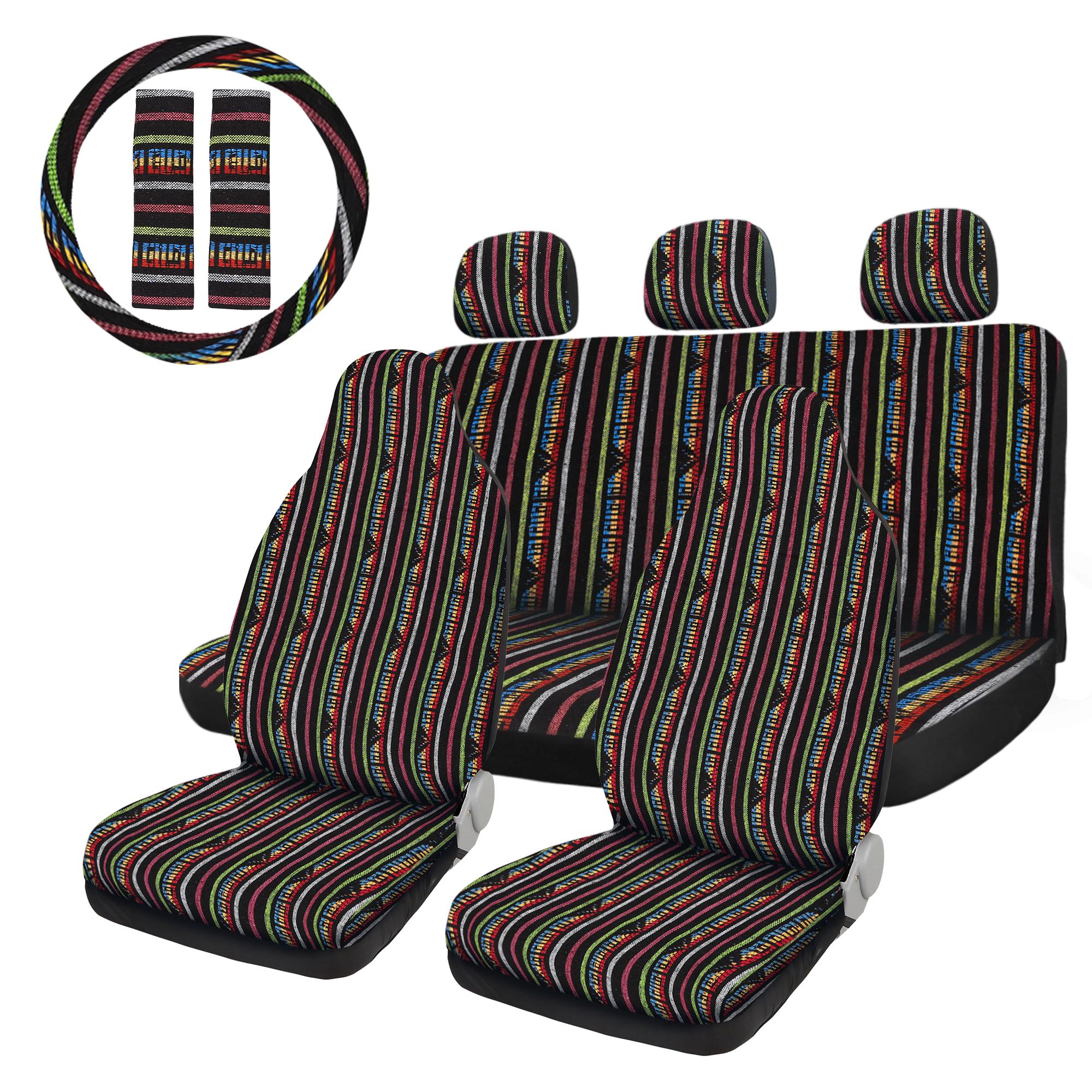 10pcs Universal Stripe Seat Covers Blanket Car Seat Covers Bohemian Style