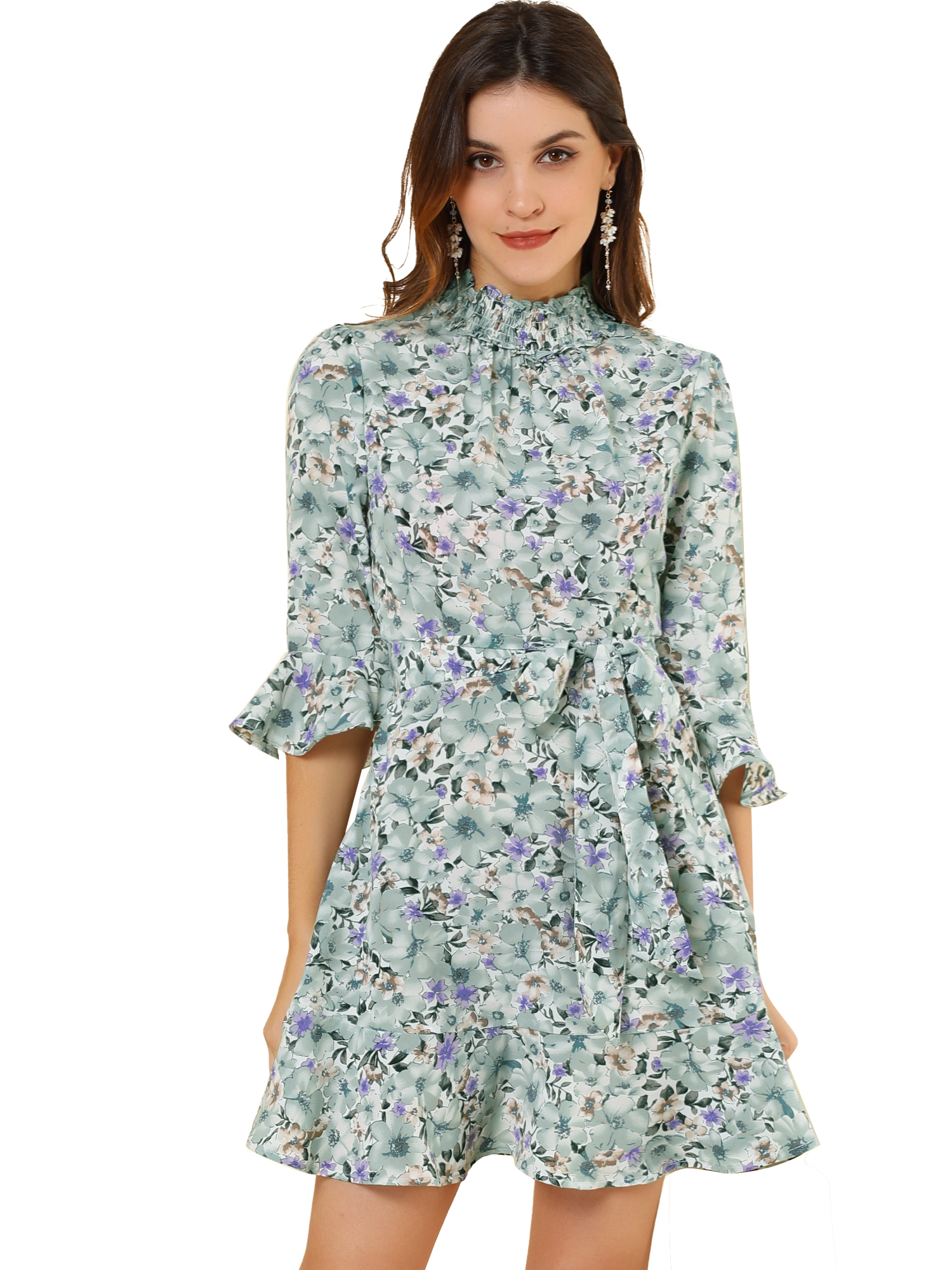 Women's Floral 3/4 Bell Sleeve Smocked Belted Flare Ruffle Dress White Mint XS