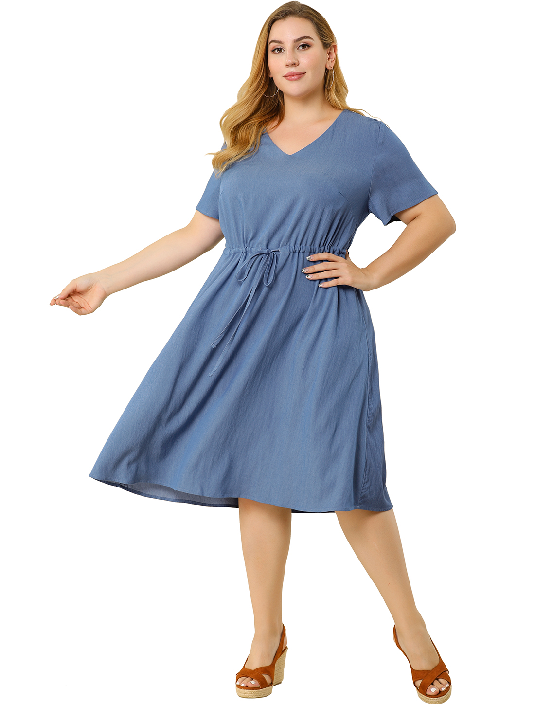 Women's Plus Size V Neck Short Sleeve Chambray Denim Dresses Blue 4X