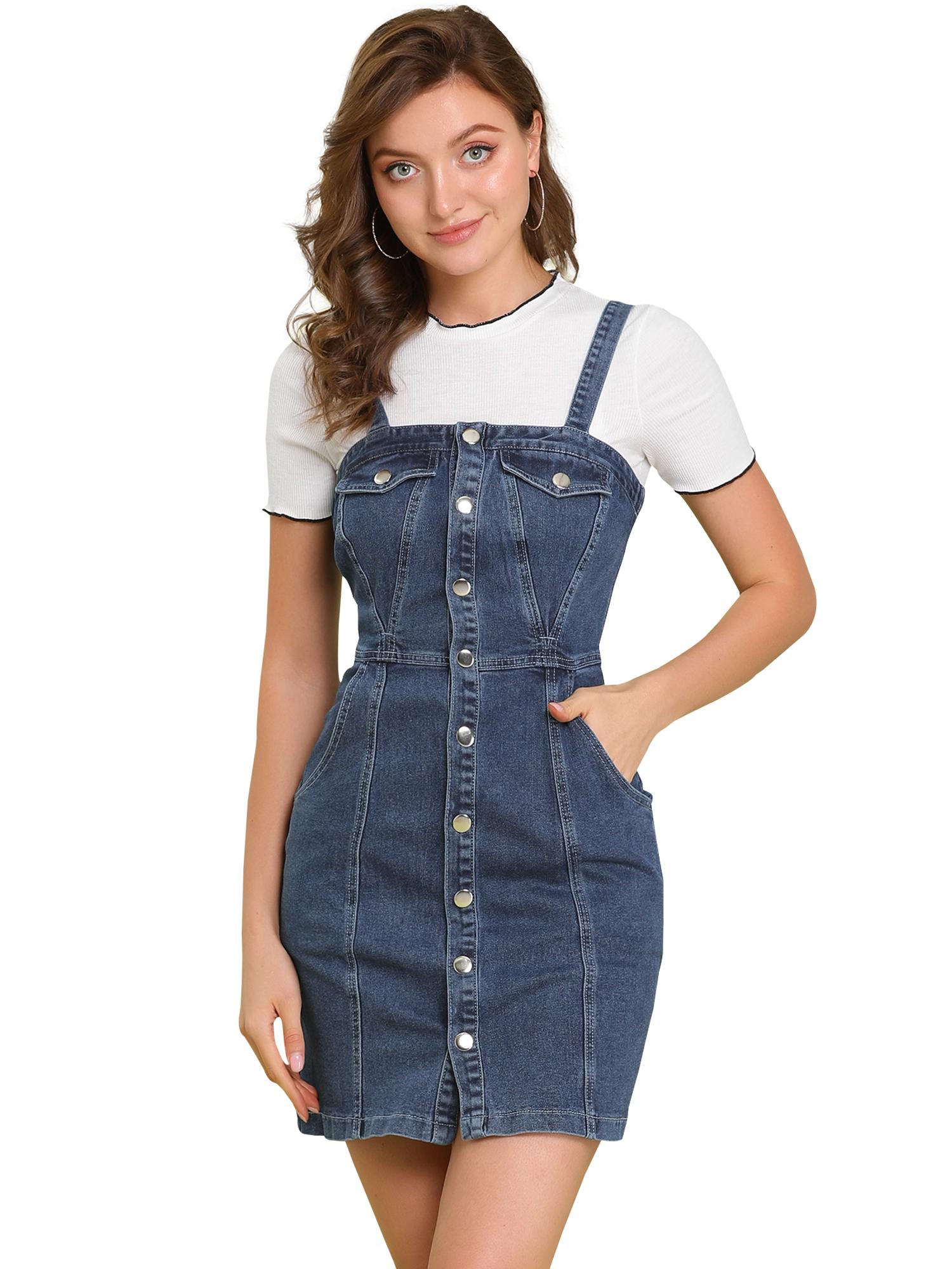 Women's Button Down Adjustable Strap Denim Suspender Skirt Dark Blue M